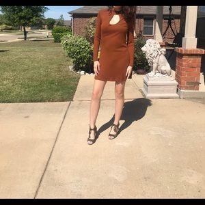 Orange long-sleeve Dress